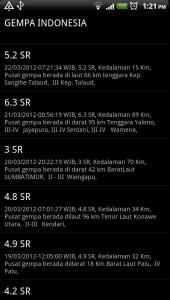 Gempa Indonesia Screen 1