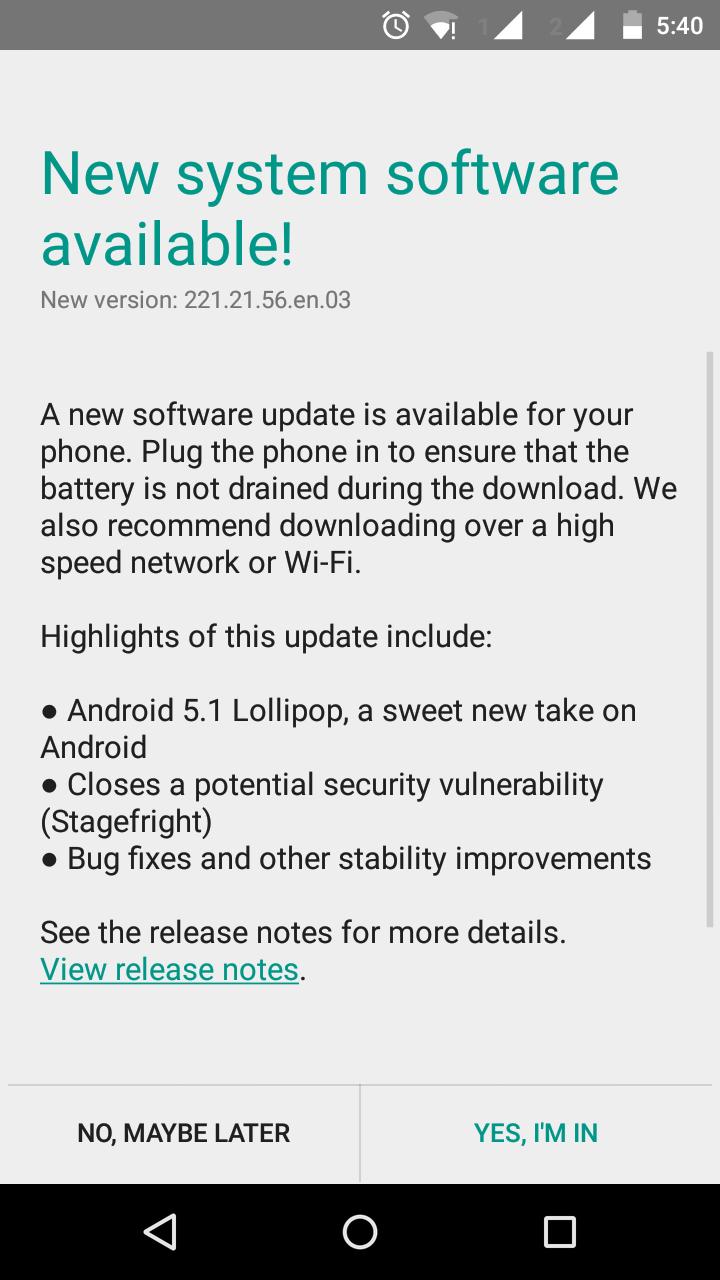 System Update Moto G Lollipop 5.1