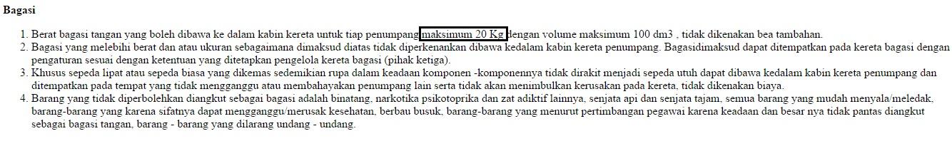 Peraturan mengenai bagasi penumpang.
