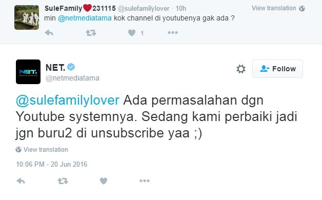 Akun YouTube NET TV Suspended dari YouTube