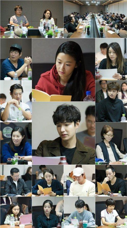 Para pemeran drama The Legend of the Blue Sea saat scriptreading pertama via soompi