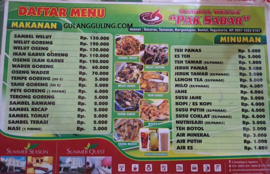 Berbagai pilihan menu di warung Sambal Belut Pak Sabar