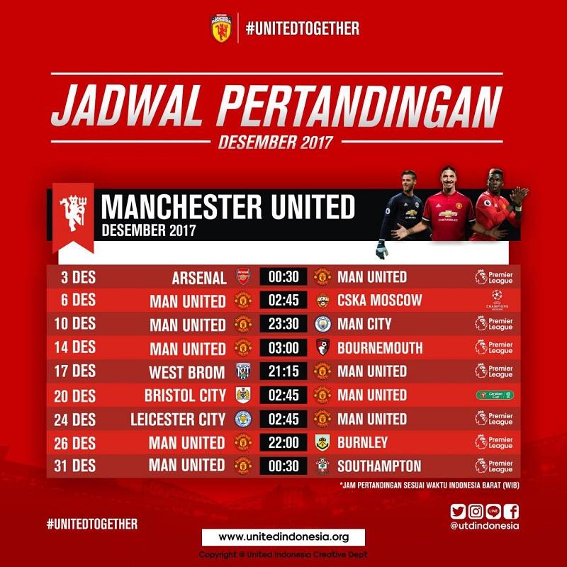 Jadwal Pertandingan Manchester United Desember 2017